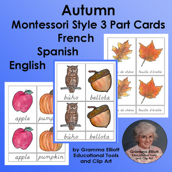Autumn 3 Part Cards Freebie in Spanish, French, and English