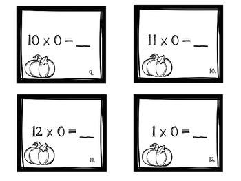 Autumn Multiplication Flash Cards