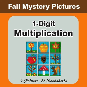 Autumn: Multiplication Math Mystery Pictures (1-Digit x 1-Digit)