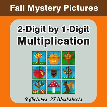 Autumn: Multiplication Math Mystery Pictures (2-Digit x 1-Digit)