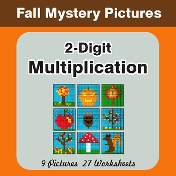 Autumn: Multiplication Math Mystery Pictures (2-Digit x 2-Digit)