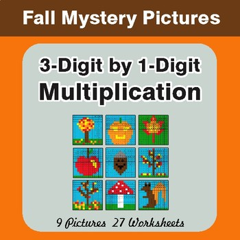 Autumn: Multiplication Mystery Pictures (3-Digit x 1-Digit)