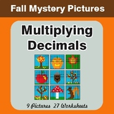 Autumn Math: Multiplying Decimals - Color-By-Number Math Mystery Pictures