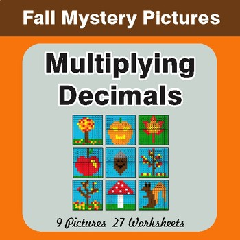 Autumn: Multiplying Decimals - Color-By-Number Math Mystery Pictures