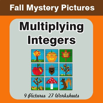 Autumn: Multiplying Integers - Color-By-Number Math Mystery Pictures