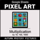 Autumn - Multiplying by 10, 100, 1000 - Google Sheets Pixel Art