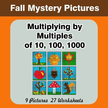 Autumn: Multiplying by Multiples of 10, 100, 1000 - Math Mystery Pictures