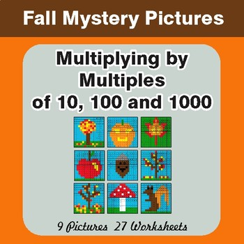 Autumn: Multipying by 10, 100, 1000 Math Mystery Pictures
