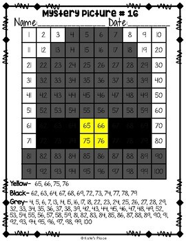 Fall Mystery Picture 100s Chart
