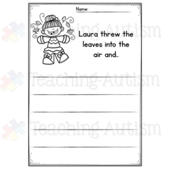 Autumn No Prep Writing Prompt Worksheets