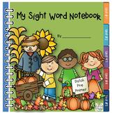Dolch PrePrimer Sight Words Autumn Notebook
