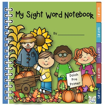 Dolch PrePrimer Sight Words Autumn Notebook