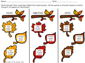 Autumn Nouns, Adjectives, & Verbs - Worksheets and Center Activity