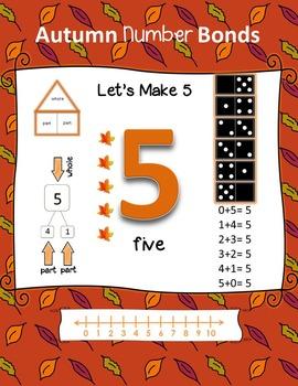 Autumn Number Bonds on Task Cards (1-10)