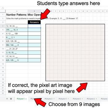 Autumn - Number Patterns: Misc Operations - Google Sheets Pixel Art