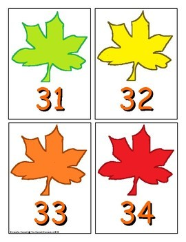 Autumn Number Recognition Center or Whole Group Game