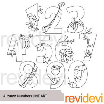 Autumn Numbers line art - clip art black line