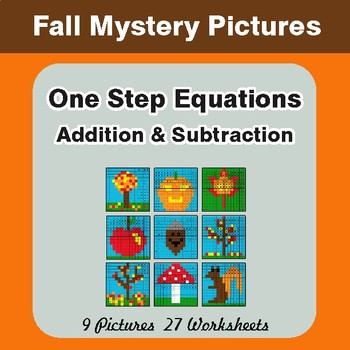 Autumn: One Step Equations Addition & Subtraction - Math Mystery Pictures