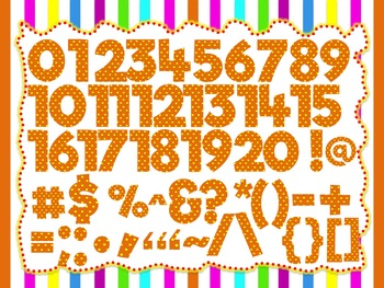 Autumn Orange Theme: 100 Alphabet, Numbers and Symbols clip arts