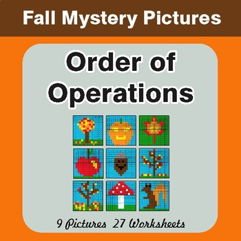 Autumn: Order of Operations - Color-By-Number Mystery Pictures