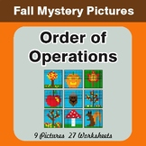 Autumn Math: Order of Operations - Color-By-Number Math Mystery Pictures