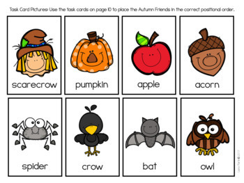 Autumn Ordinal Numbers and Positional Words FREEBIE