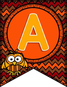 Autumn Owl Alphabet Pennant Banners