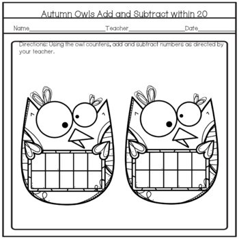Autumn Owl Counters Add or Subtract Tens Frames Math Activity Black and White
