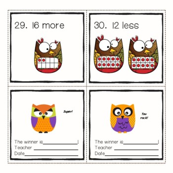 Autumn Owl Counters Add or Subtract within 20 Tens Frames Math