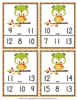 Autumn Owl Numbers In Between Clip Cards