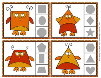 Autumn Owl Shapes Clip Cards