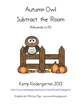 Autumn Owl Subtract the Room (Minuends to 10)
