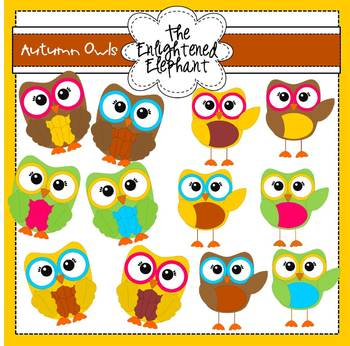 Autumn Owls Clip Art