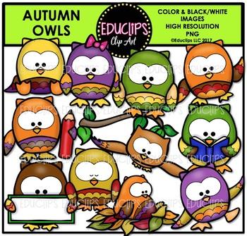 Autumn Owls Clip Art Bundle {Educlips Clipart}
