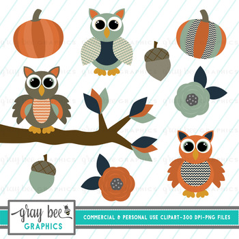 Autumn Owls Clip Art Pack