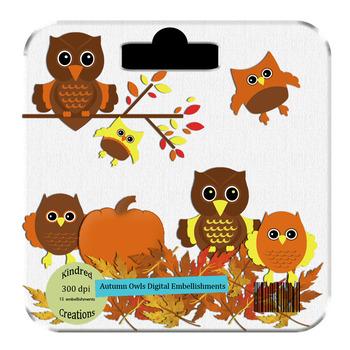 Autumn Owls Clip Art Set