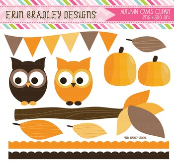 Autumn Owls Clipart Bundle - Digital Nature Graphics
