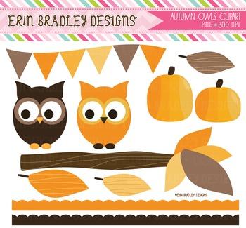 Autumn Owls Clipart Bundle - Digital Nature Graphics