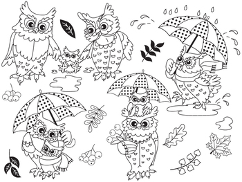 Autumn Owls Clipart - Digital Vector Owls, Baby Owl