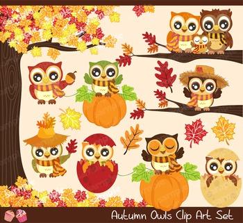 Autumn Fall Owls Clipart Set