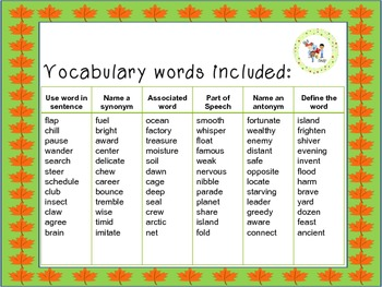 Autumn Owls Vocabulary Game