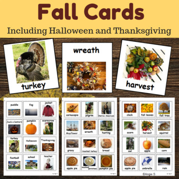Fall Communication Cards for Autism (including Halloween and Thanksgiving)