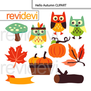 Autumn Party Clip Art Bundle / Numbers, banners, owls, pumpkins
