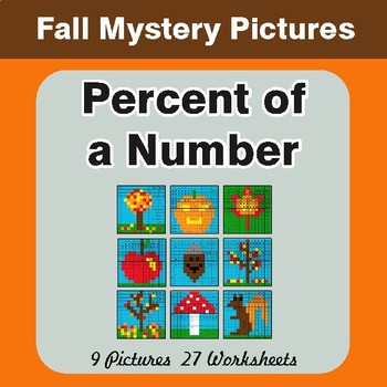Autumn: Percent of a Number - Color-By-Number Math Mystery Pictures