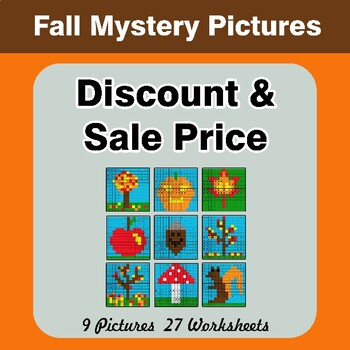 Autumn: Percents - Sale Price, Discount, Savings - Math Mystery Pictures
