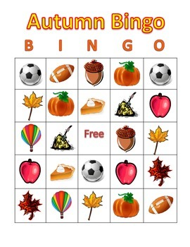 Autumn Picture Bingo