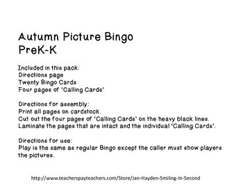 Autumn Picture Bingo- PreK-K