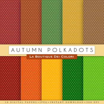 Autumn Polkadots Digital Paper, scrapbook backgrounds.
