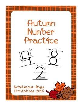 Autumn PreK Number Practice No Prep Printable Pack