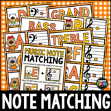 Autumn Pumpkin Bears Music Notes Matching Flashcards! Treb